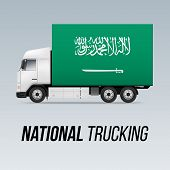 Symbol Of National Delivery Truck With Flag Of Saudi Arabia. National Trucking Icon And Flag Design poster