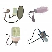 Studio Microphone Icon Set. Cartoon Set Of Studio Microphone Vector Icons For Web Design Isolated On poster