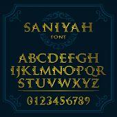Vintage Patterned Letters. Vintage Font In Floral Baroque Style. Vintage Latin Alphabet. Vintage Whi poster