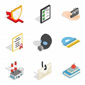 Framework Icons Set. Isometric Set Of 9 Framework Vector Icons For Web Isolated On White Background poster
