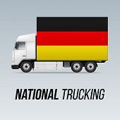Symbol Of National Delivery Truck With Flag Of Germany. National Trucking Icon And German Flag poster