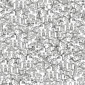 Pattern With Hand Drawn Doodle Houses. Illusttration With Cute House. Line House Drawing. Samless Ba poster