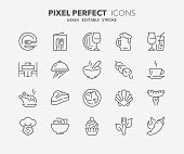 Thin Line Icons Set Of Restaurant And Menu Options. Outline Symbol Collection. Editable Vector Strok poster
