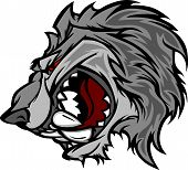 Lobo mascota de la historieta con Snarling cara