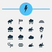 Climate Icons Set With Snow, Thundershower, Sleet And Other Thunderstorm Elements. Isolated  Illustr poster