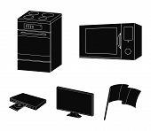 Home Appliances And Equipment Black Icons In Set Collection For Design.modern Household Appliances V poster