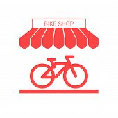 Bike Shop, Bicycle Store Single Flat Icon. Striped Awning And Signboard. A Series Of Shop Icons. Vec poster