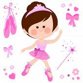 Vector Illustration Set Of A Cute Ballerina Dancer Girl In A Pink Ballet Outfit, Ballet Shoes, Ribbo poster