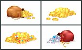 Treasures Collection Posters Collection With Coins, Pearls And Cup, Treasure Of Pirates, Set Of Bags poster