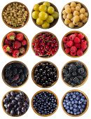 Red, Black, Blue And Yellow Food. Fruits And Berries In Wooden Bowl Isolated On White. Sweet And Jui poster