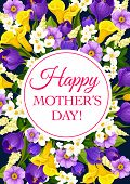 Happy Mothers Day Greeting Card Of Springtime Wishes And Floral Bunch For Seasonal Mother Holiday. V poster