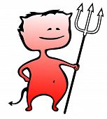 Little devil with a fork isolated on white - Halloween - vector illustration