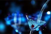 Glass Cocktail Martini Lights Colors Background Celebration poster