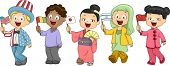Illustration of Kids Representing Different Nations