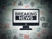 News Concept: Painted Black Breaking News On Screen Icon On Digital Data Paper Background With  Hand poster