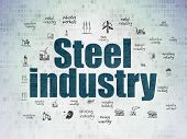 Industry Concept: Painted Blue Text Steel Industry On Digital Data Paper Background With  Hand Drawn poster