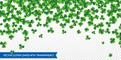 Patrick Day Background With Vector Four-leaf Clover Pattern Background. Lucky Fower-leafed Green Bac poster