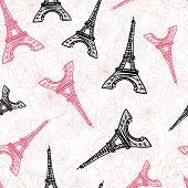 Vector Black Pink Eifel Tower Paris And Roses Flowers Seamless Repeat Pattern Surrounded By St Valen poster