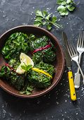 Vegetarian Swiss Chard Packets. Chard Leaves Stuffed With  Lentils And Garden Vegetables On A Dark B poster