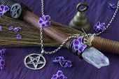 stock photo of pentacle  - close up of wiccan objects  - JPG