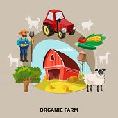 Farm Cartoon Composition Organic Farm Headline With Buildings Elements And Equipment Vector Illustra poster