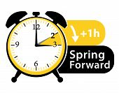 Summer Time. Daylight Saving Time. Spring Forward Alarm Clock Vector Icon Ii. poster