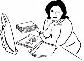 sketch of a girl at the table in front of the monitor and folders with papers