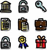 Web icons marker colour contour financial