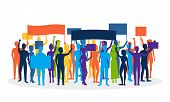 Cartoon Silhouette Color Protesting Crowd Demonstration, Picket Or Conflict Action Culture Concept F poster