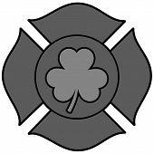 Irish Firefighter Maltese Cross Illustration - A Vector Cartoon Illustration Of A Irish Firefighter  poster
