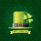 Vector Saint Patricks Day Label With Glossy Hat And Ribbon With Text Isolated On Green Background. S poster