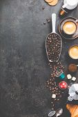 Coffee composition on dark background. Coffee espresso in dark cups, coffee beant, ground coffee, br poster