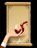 Wine list with hand holding a wineglass with splashed wine. Vintage menu template with framed old pa poster