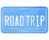 A blue license plate with the words Road Trip symbolizing your upcoming travel for holiday or vacation or business purposes