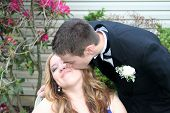 Prom Boy Kissing Date on Cheek