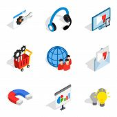 Seo Human Icons Set. Isometric Set Of 9 Seo Human Vector Icons For Web Isolated On White Background poster