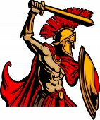 Trojan Mascot Body with Sword and Shield