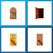 Icon Flat Door Set Of Entry, Gate, Door And Other  Objects. Also Includes Door, Exit, Approach Eleme poster