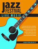 Jazz Music Concert, Poster Background Template With Generic Acoustic Guitar. Flyer Design poster