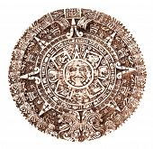 foto of cultural artifacts  - Mayan calendar isolated on the white background - JPG
