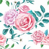 Flowers Floral Vintage Fashion Banner Fall Poster Flyer Rose With Leaves Stem Berries Bouquet Seamle poster