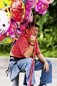 Balloon Vendor In Taipei,taiwan,may 18