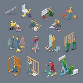 Home Repair Isometric Icons Set With Workers, Tools And Equipment Symbols Isolated On Grey. Building poster