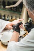 Professional Manicure Master Making Manicure In Salon. Nails Treatment In Spa Salon. Podiatry Clinic poster