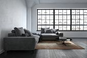 The interior of a luxury, contemporary lounge room next to wide windows with apartment views. 3d Ren poster