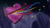 Graphic Illustration Of Stream Of Iconic Butterflies Releasing Out Of Opening Heart. Art Applicable  poster