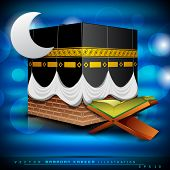 Beautiful Qaaba Sharif of Qaba with holy book Quran and moon on modern abstract blue background. EPS 10. Vector illustration.