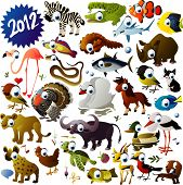 big vector animal set