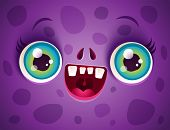 Vector Cute Face Of Purple Monster For Halloween Mask. Kawaii Face Of Zombie With Blue Eyes For Hall poster