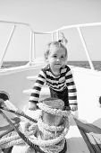 Funny Kid In Striped Marine Shirt. Small Sailor On Boat. Summer Vacation. Childhood Happiness. Journ poster